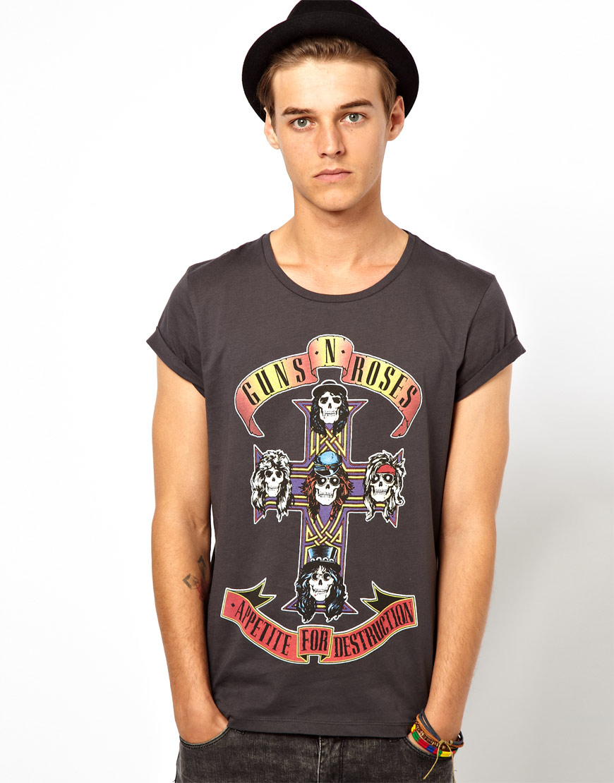 puma asos tshirt with guns n roses print and roll sleeve. Black Bedroom Furniture Sets. Home Design Ideas