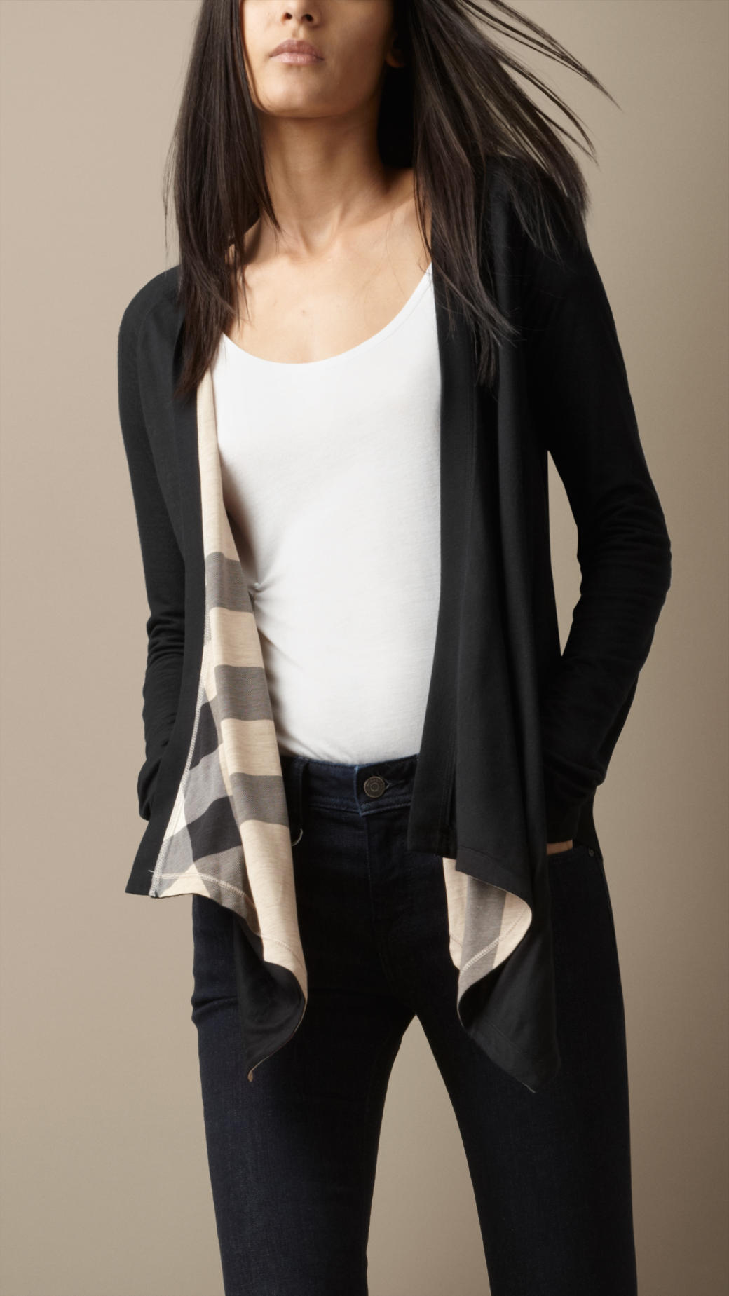 Burberry Reversible Waterfall Cardigan in Black | Lyst