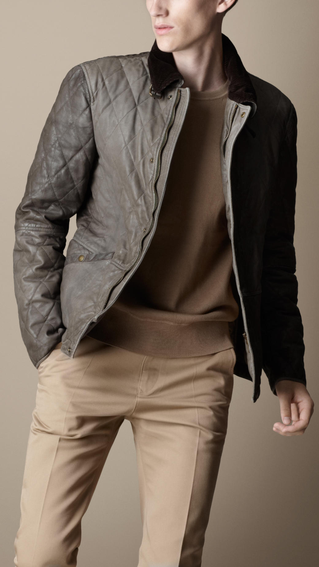 Burberry Diamond Quilted Leather Jacket in Brown for Men | Lyst