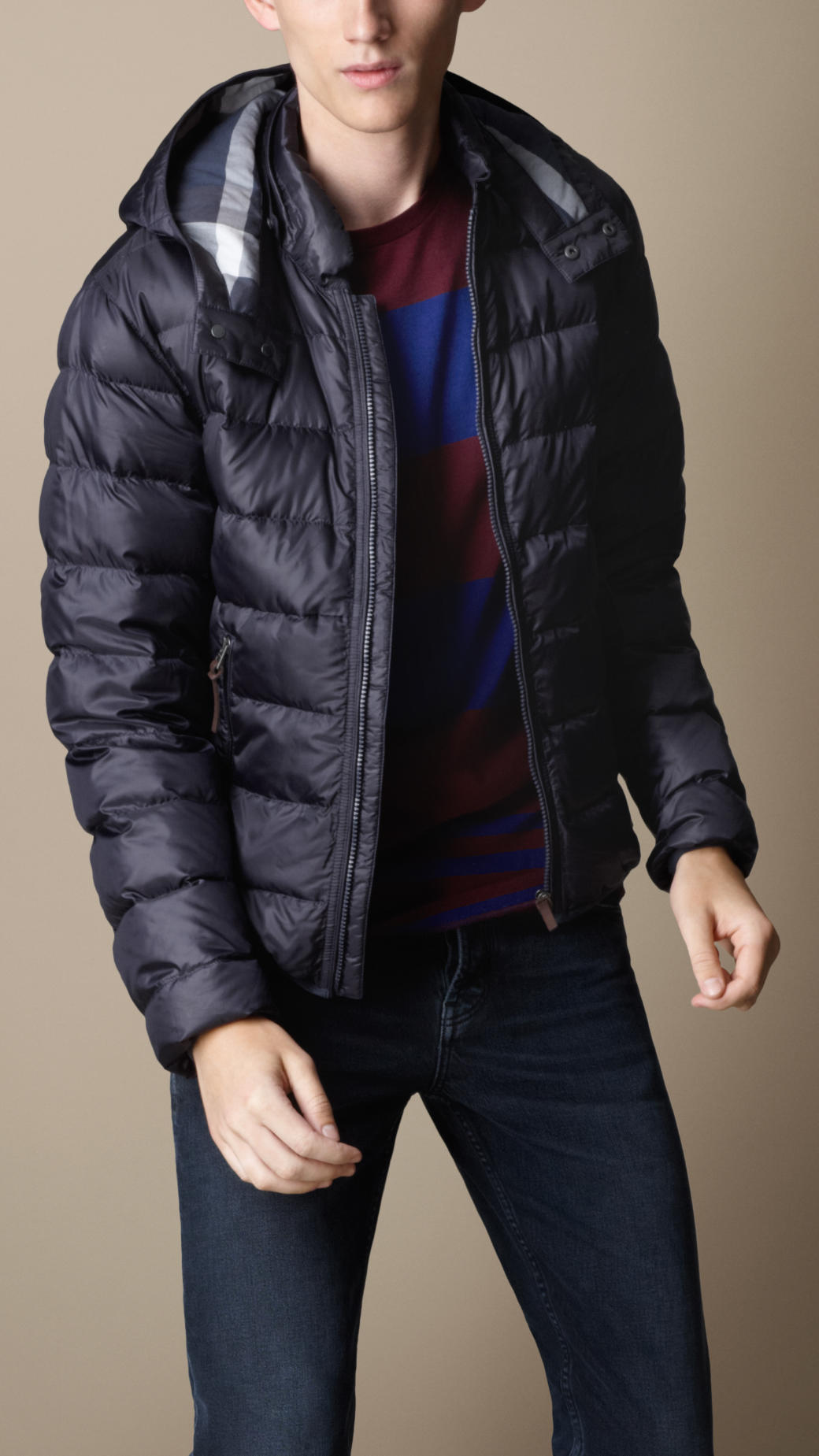 Burberry Downfilled Puffer Jacket in Blue for Men | Lyst