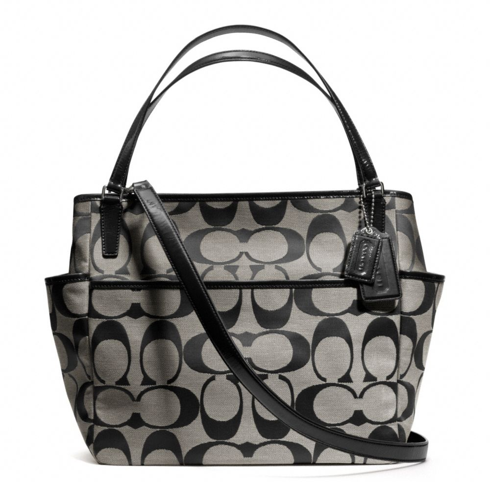 aad9b3264c Lyst - COACH Baby Bag Tote in Signature C Fabric in Metallic
