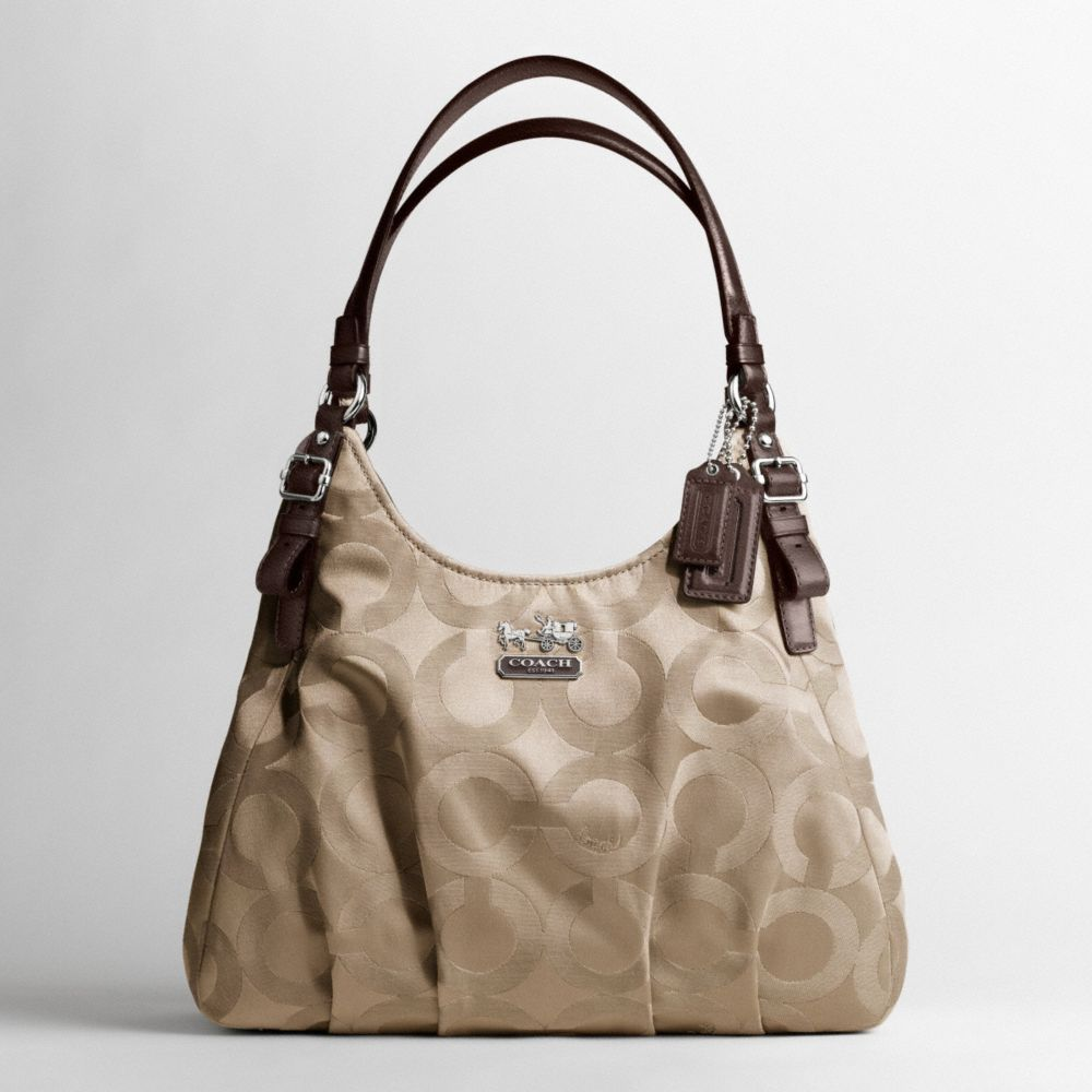 coach madison op art sateen maggie shoulder bag in natural lyst. Black Bedroom Furniture Sets. Home Design Ideas