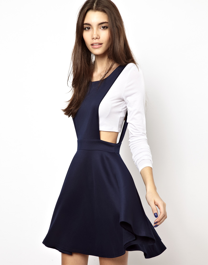 Lyst Asos Pinafore Dress In Blue