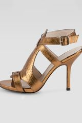 Elizabeth And James Tango Metallic Lizard embossed Sandal Copper - Lyst