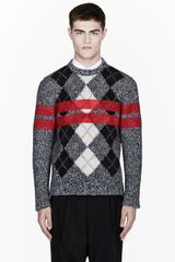 Givenchy Grey Melange Painted Stripe Argyle Wool Sweater - Lyst