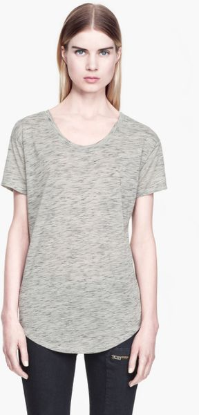 Helmut Lang Meteor Jersey Drop Back Tee in Gray (SLUBBY GREY)