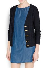 Mango Cable Knit Cotton Cardigan - Lyst