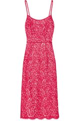 Michael Kors Satin Trimmed Cotton Blend Lace Sheath Dress - Lyst
