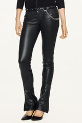 Raph Lauren Black Label Denim Leather trimmed Skinny Jean - Lyst