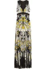 Roberto Cavalli Printed Silk-chiffon and Lace Gown - Lyst