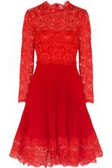 Valentino Lace and Plissé Silkcrepe Dress - Lyst