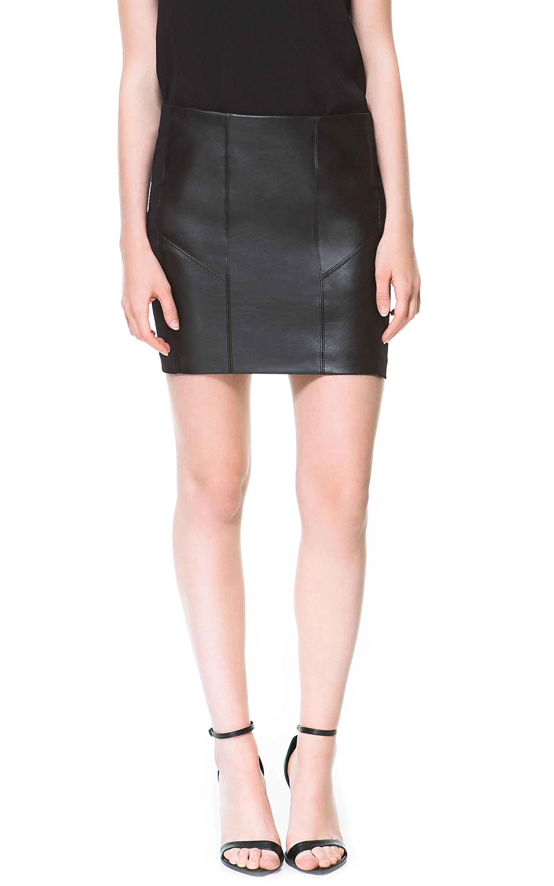 446a0591 Black Faux Leather Skirt Zara - raveitsafe