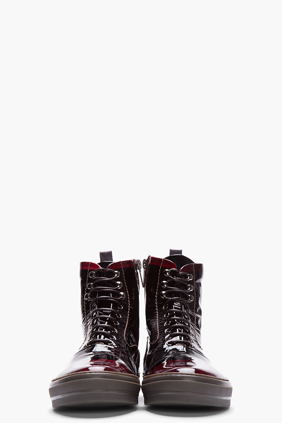 Lyst Alexander Mcqueen Black And Burgundy Patent Leather