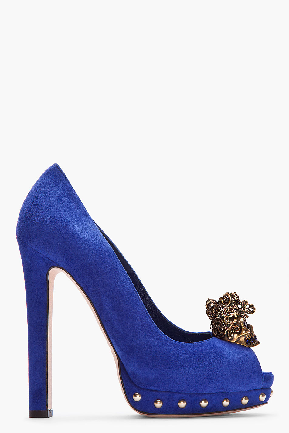 Alexander Mcqueen Royal Blue Suede Lace Skull Studded