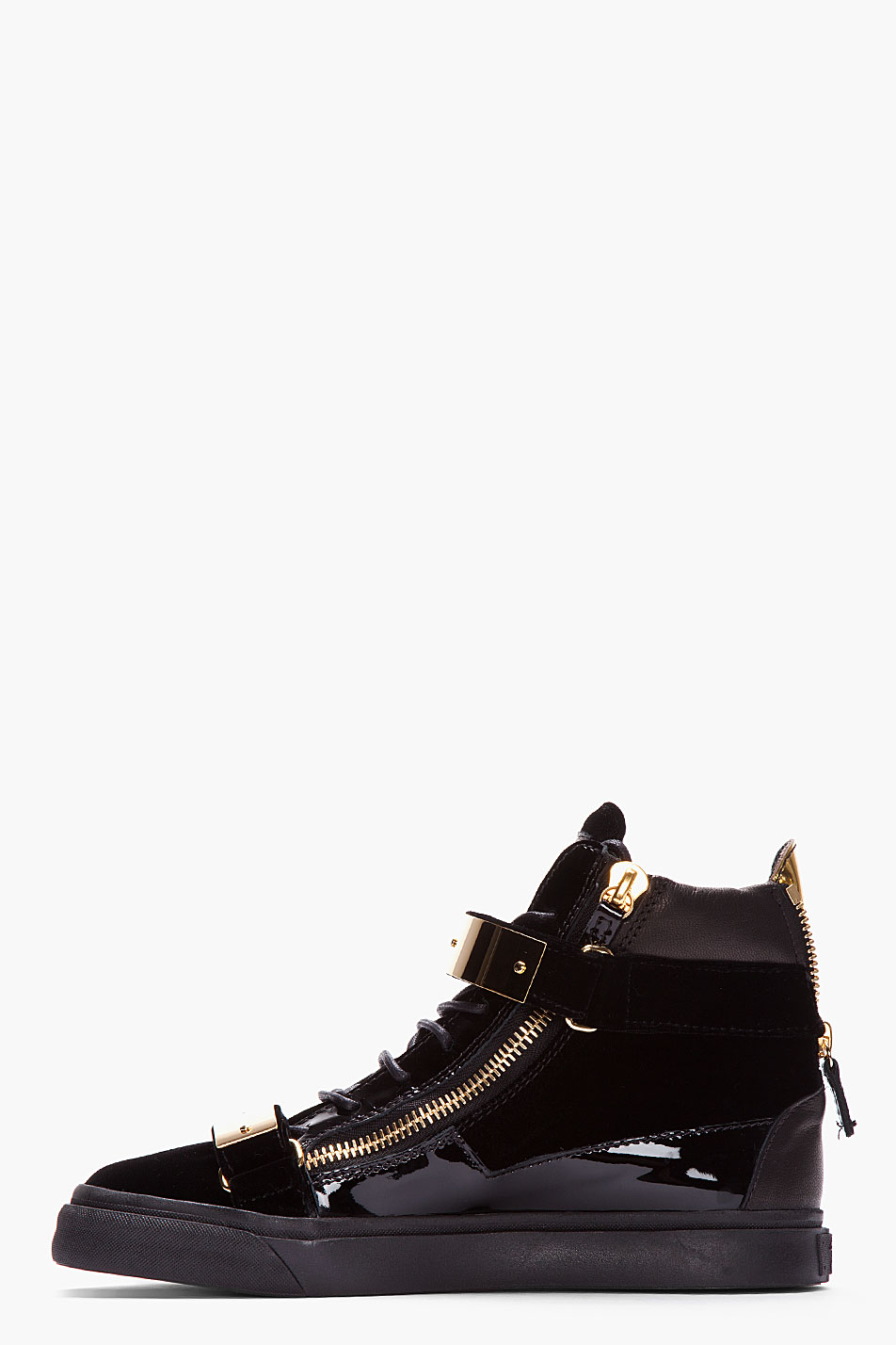 Lyst Giuseppe Zanotti Black Velvet Gold Bar Sneakers In