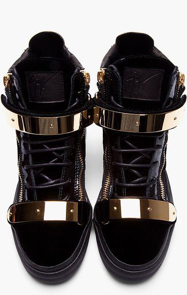 Giuseppe Zanotti Black Velvet Gold Bar Sneakers In Black