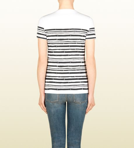 Gucci short sleeve t shirt with bamboo print in white for Bamboo t shirt printing
