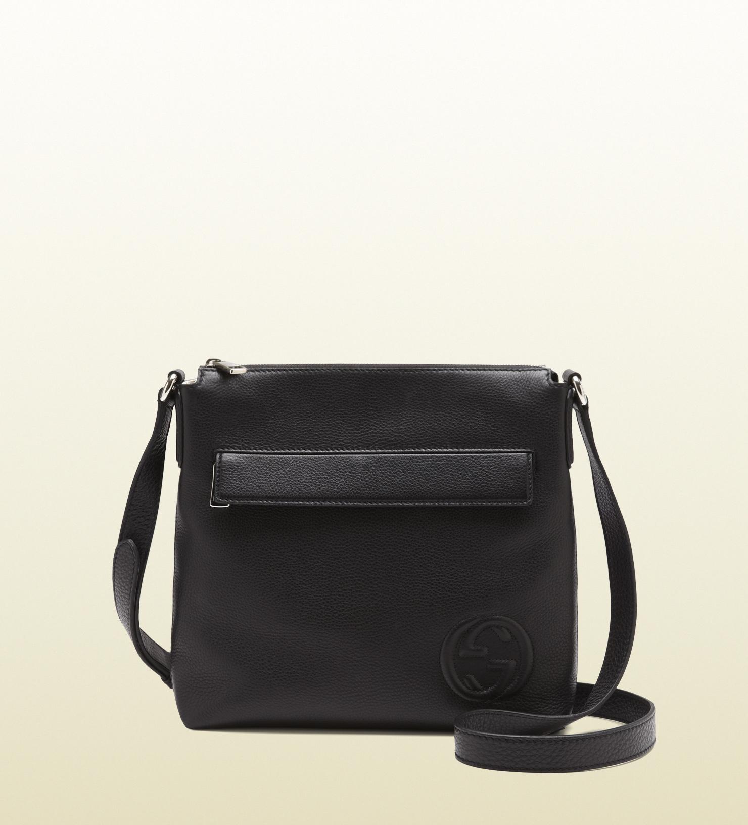 gucci black leather messenger bag in black for men lyst. Black Bedroom Furniture Sets. Home Design Ideas