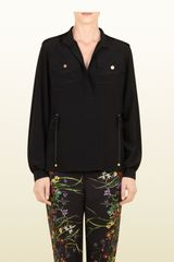 Gucci Black Silk Crêpe De Chine Coulisse Shirt - Lyst