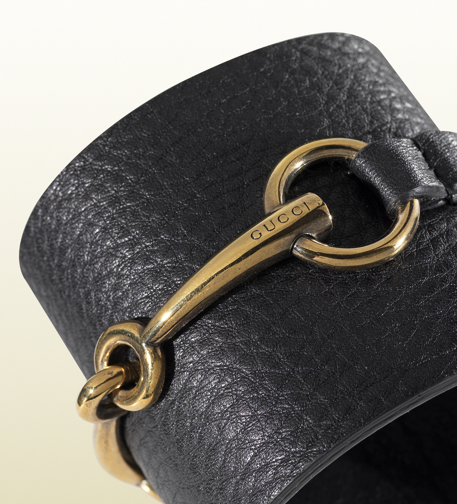 Lyst Gucci Bracelet In Black Leather With Metal Horsebit