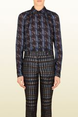 Gucci Silk Houndstooth Button-down Shirt - Lyst