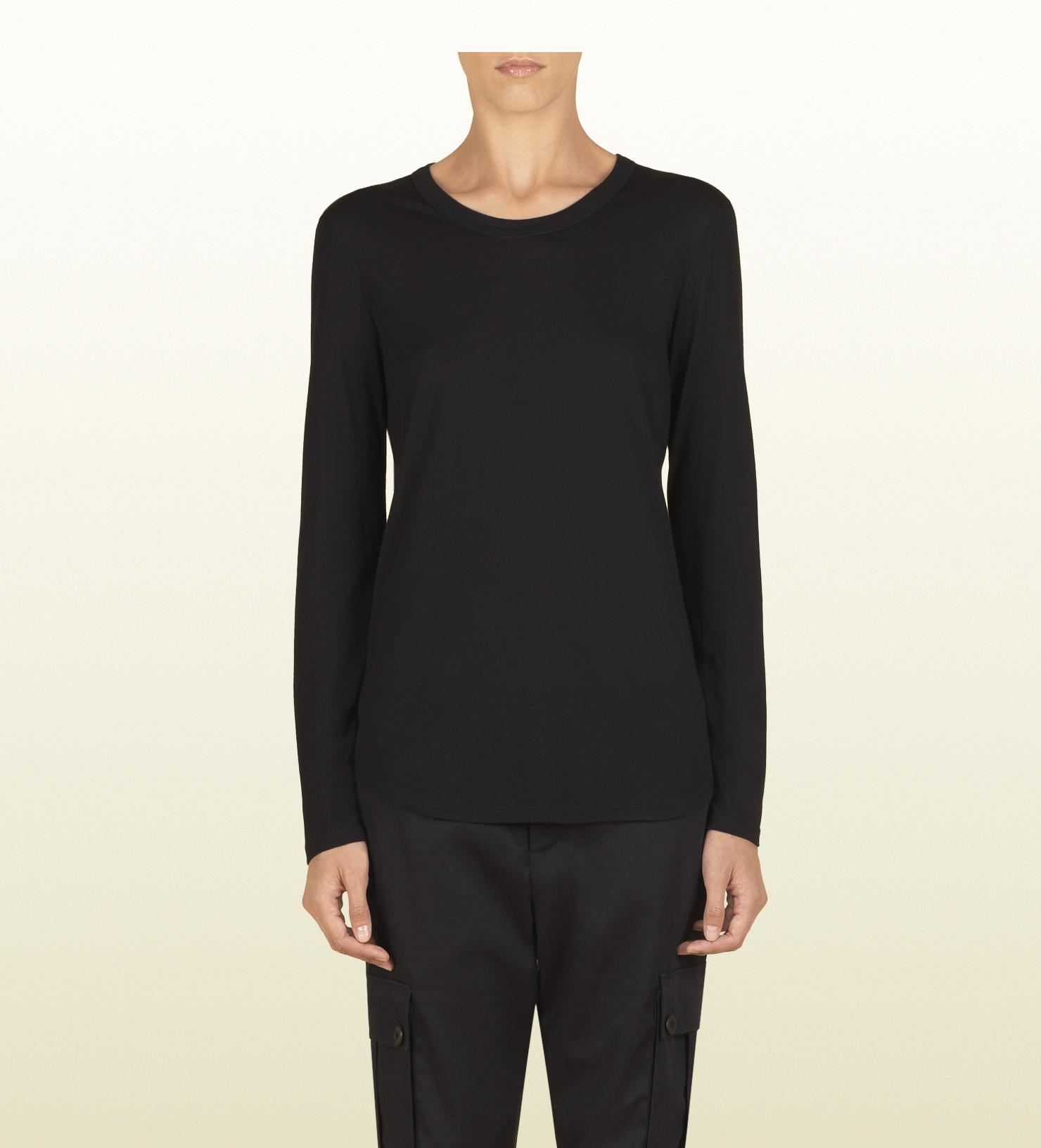 Gucci Women's Black Silk Jersey Long Sleeve T-shirt From Viaggio ...