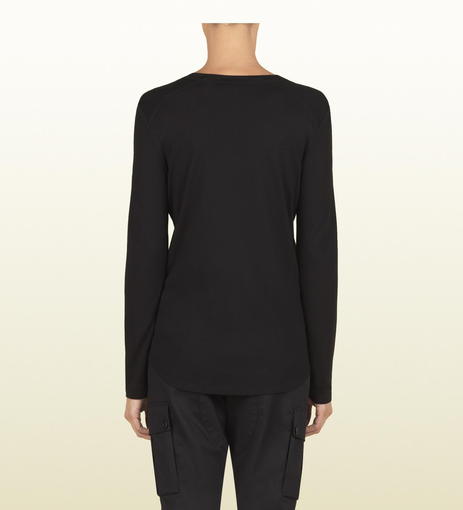 9f90d02d0 Gucci Women's Black Silk Jersey Long Sleeve T-shirt From Viaggio ...