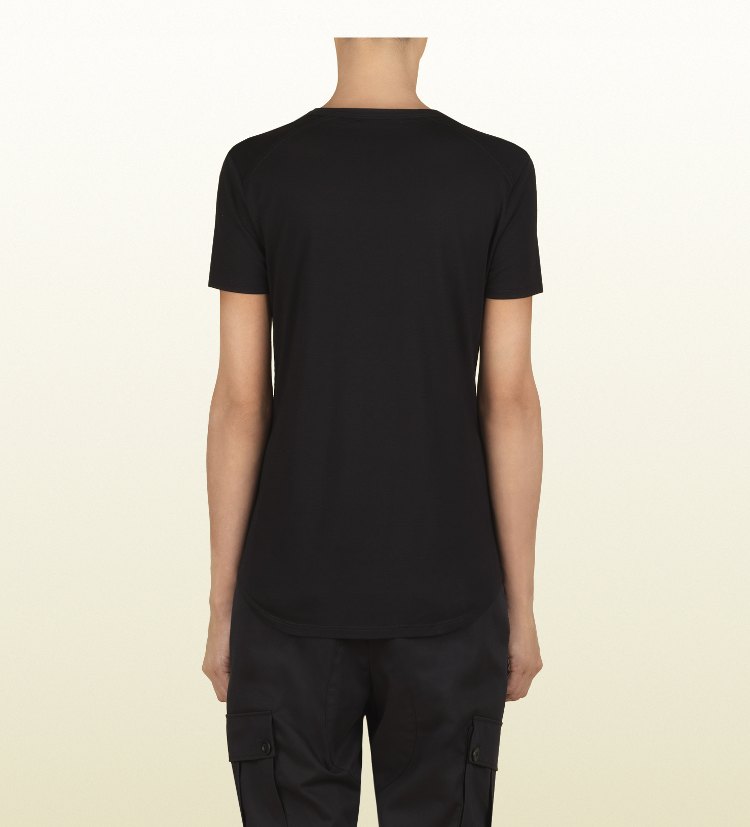 55483cf35 Gucci Women's Black Short Sleeve T-shirt From Viaggio Collection in ...
