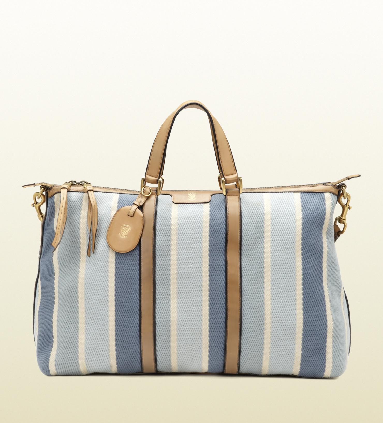 e0ad94a4ba22 Gucci Blue Tones Stripes Fabric Top Handle Duffel Bag in Blue for ...