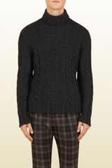 Gucci Green Cable Knit Turtleneck - Lyst
