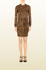 Gucci Jaguar Print Silk Shirt Dress - Lyst