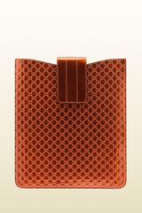 Gucci Burnt Orange Micro Gg Leather Ipad Case - Lyst