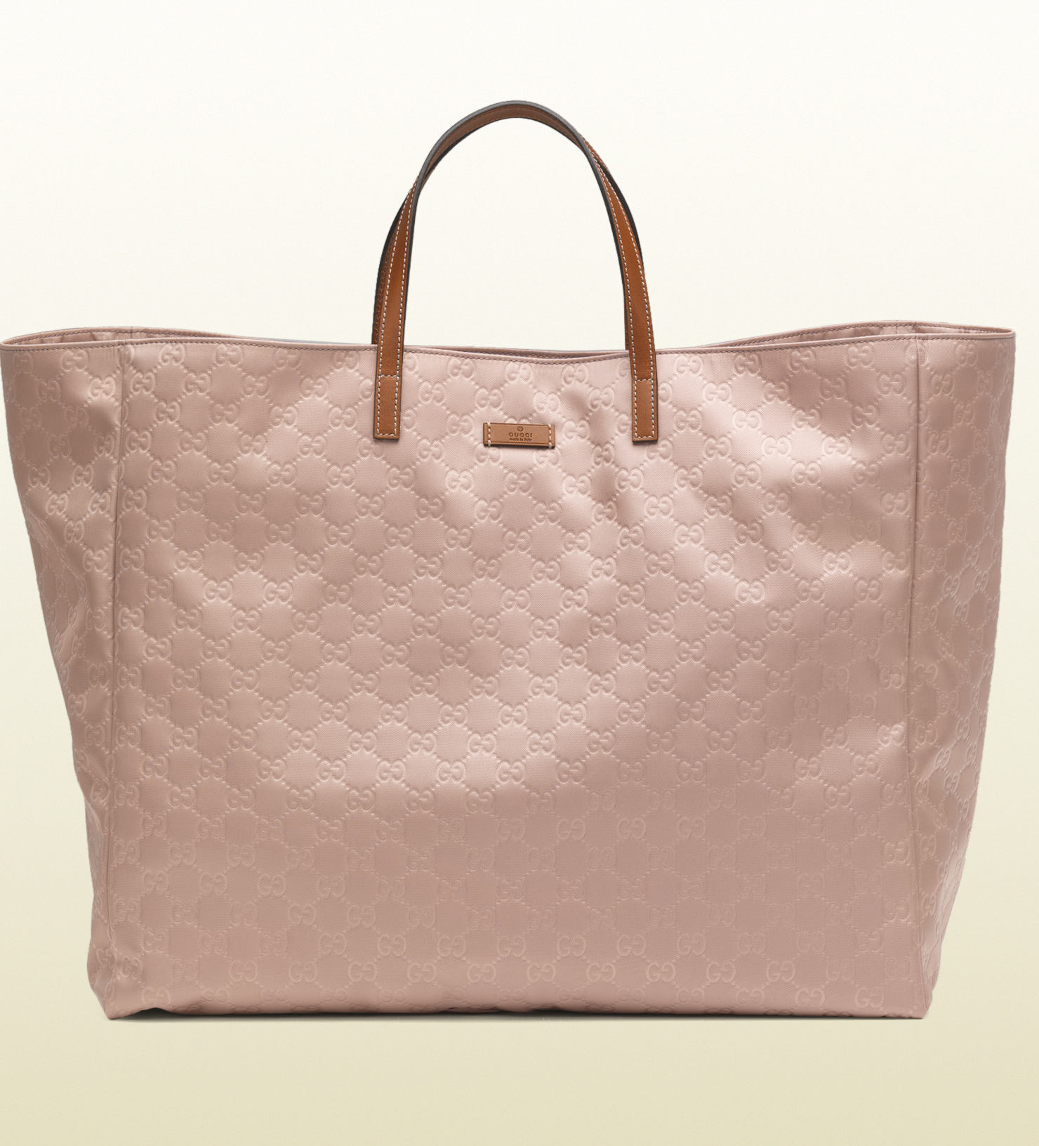 gucci large light pink nylon guccissima tote in pink lyst. Black Bedroom Furniture Sets. Home Design Ideas