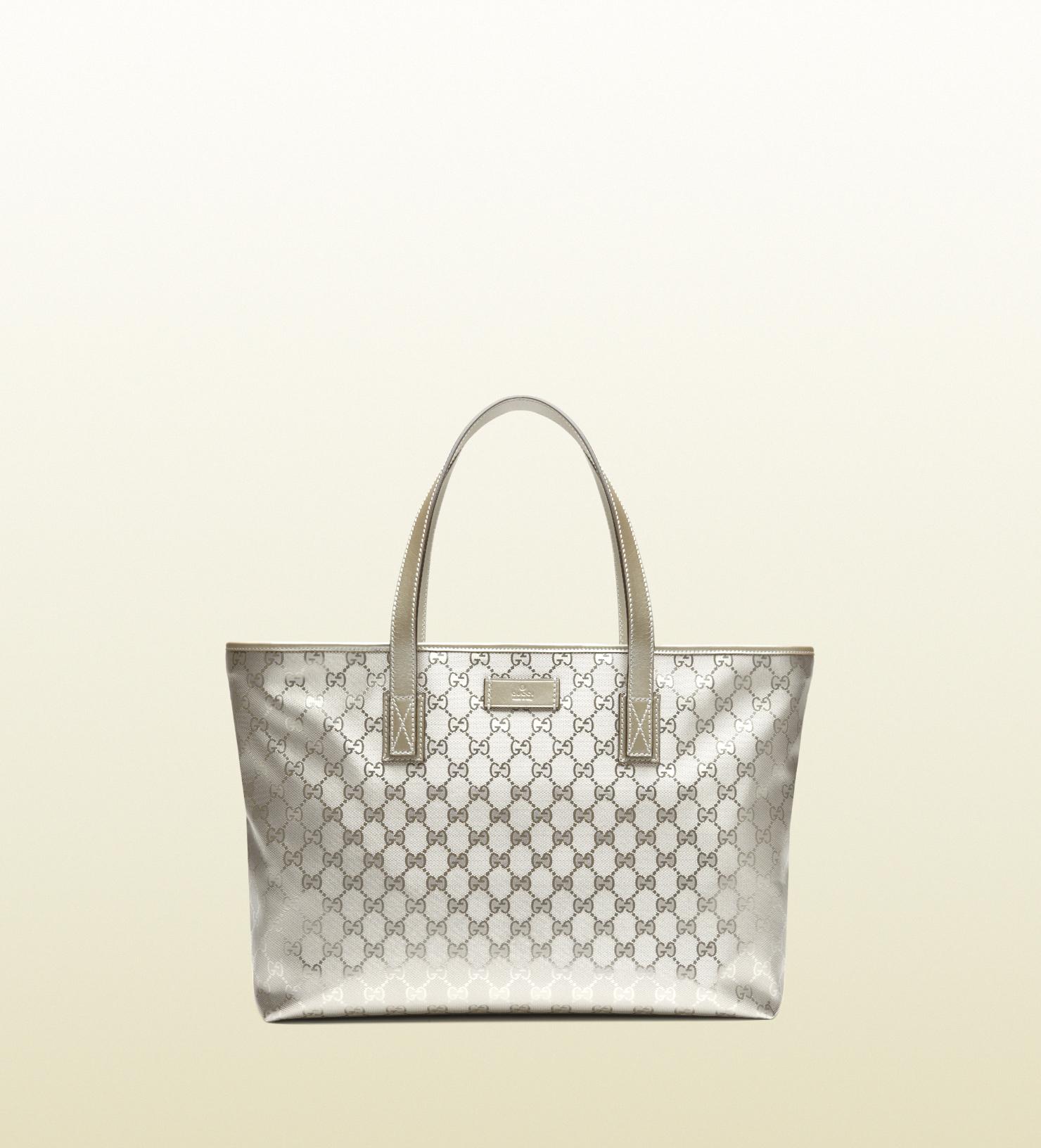 25d3334952e215 Gucci Silver Gg Imprime Tote in Metallic - Lyst