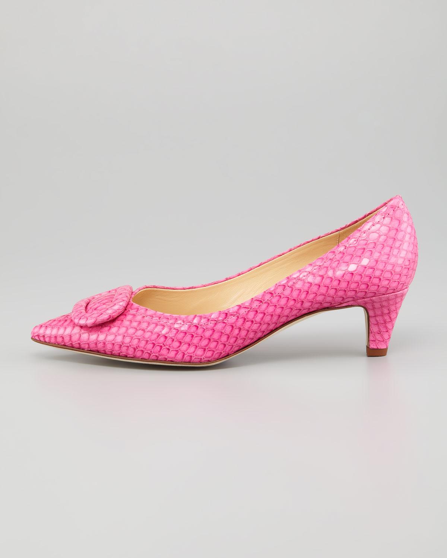 Lyst - Kate Spade Simon Snake-print Kitten-heel Pump Pink in Pink