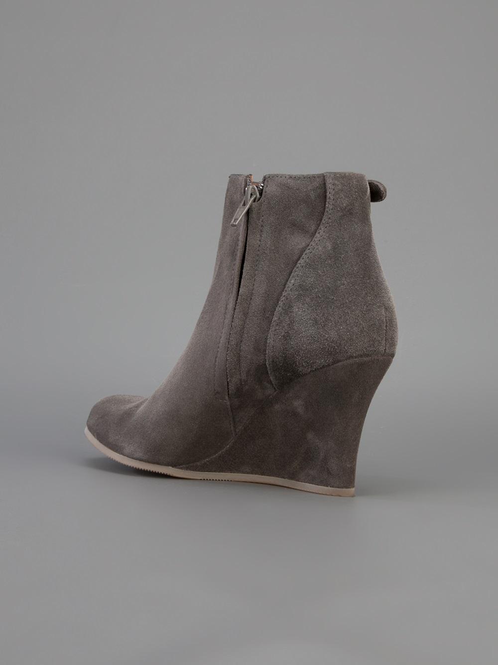 Lyst Lanvin Wedge Bootie In Gray
