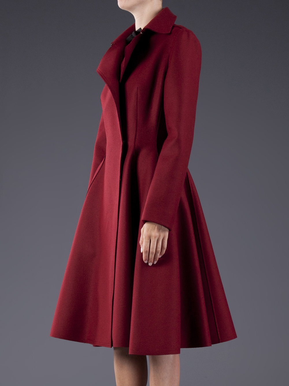 Lyst Lanvin Flare Skirt Coat In Red