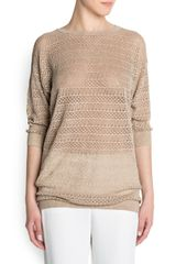 Mango Open Knit Sweater - Lyst