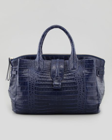 nancy gonzalez cristina crocodile shoulder tote bag navy