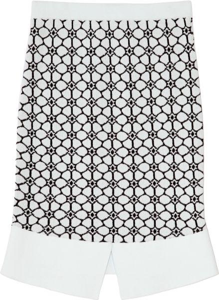 Opening Ceremony Esther Jacquard Skirt in White (Sky/Black)
