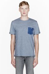 Paul Smith Blue Heathered Striped Pocket T_shirt - Lyst