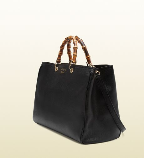 gucci bamboo shopper leather tote in black bamboo lyst. Black Bedroom Furniture Sets. Home Design Ideas