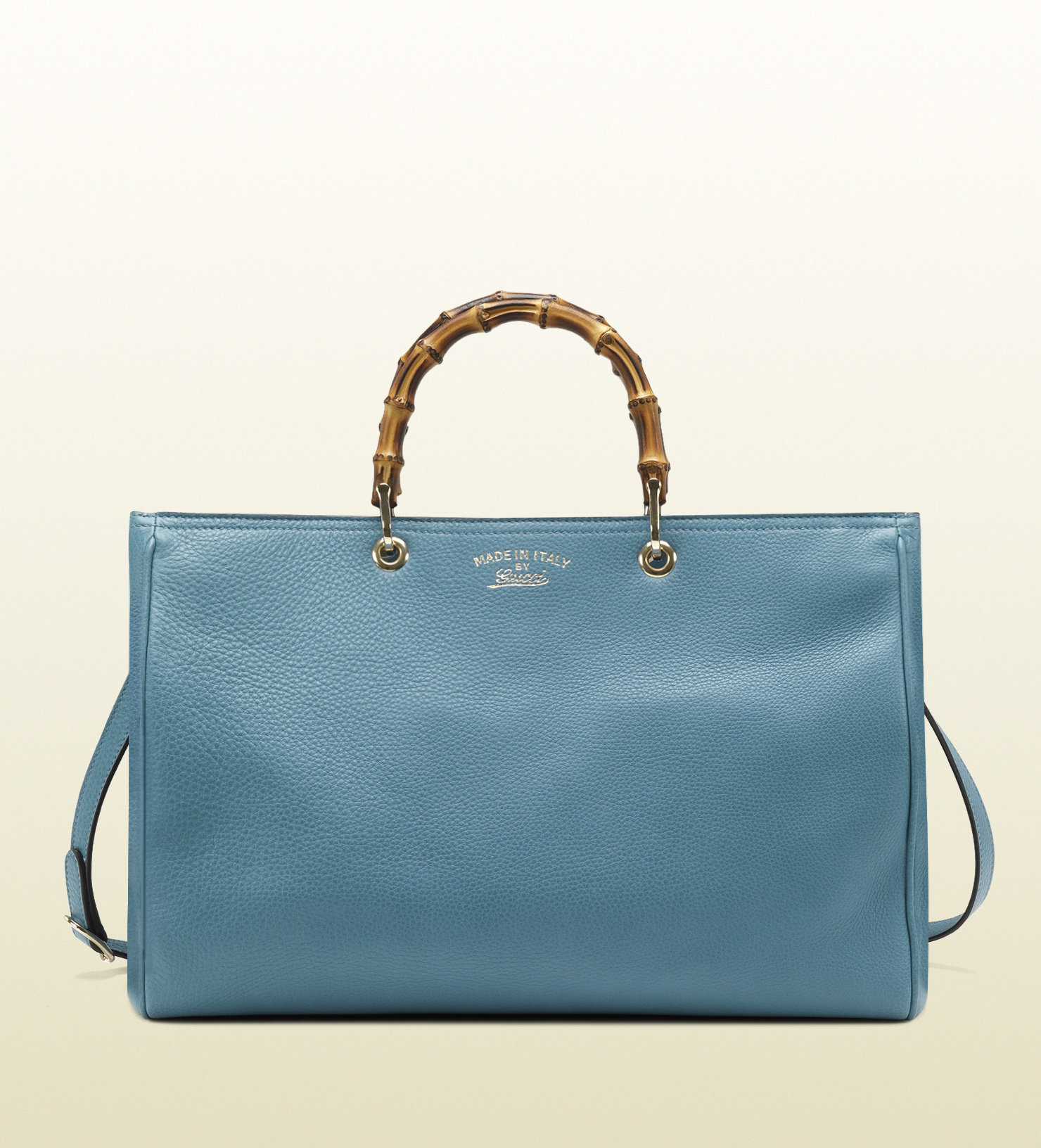 lyst gucci bamboo shopper light blue leather tote in blue. Black Bedroom Furniture Sets. Home Design Ideas