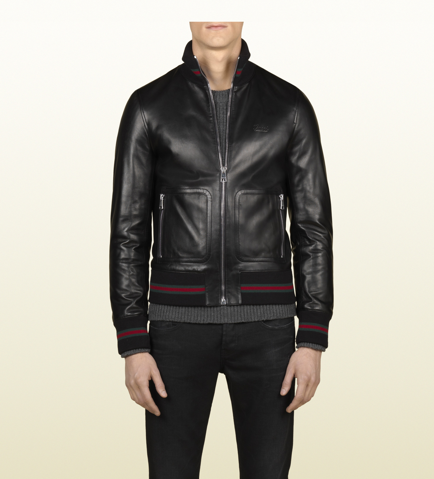 Lyst Gucci Black Leather Bomber In Black For Men