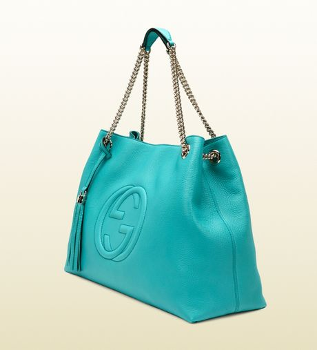 Gucci Soho Light Blue Leather Shoulder Bag in Blue