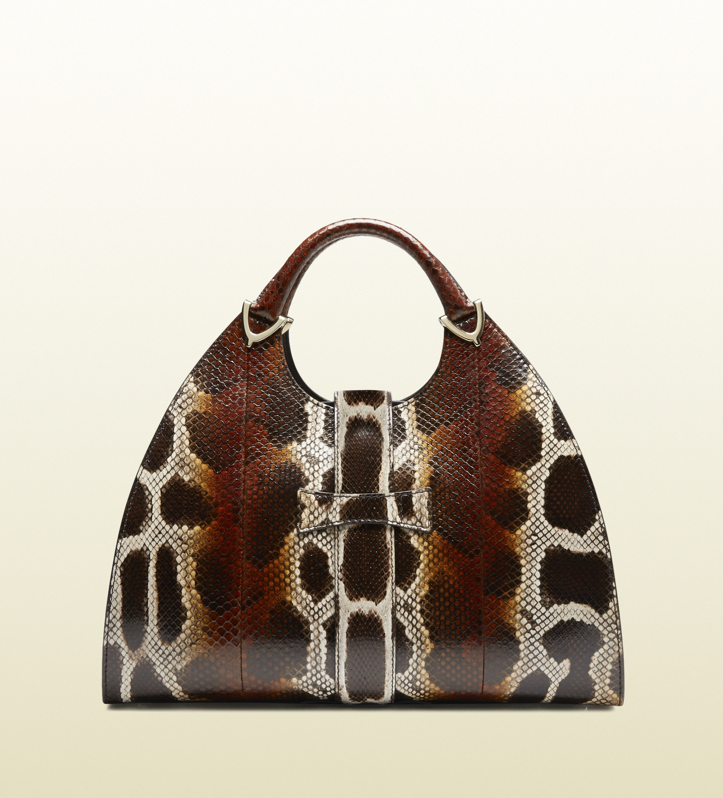 d053b3aa0e6 Lyst - Gucci Stirrup Python Top Handle Bag in Brown