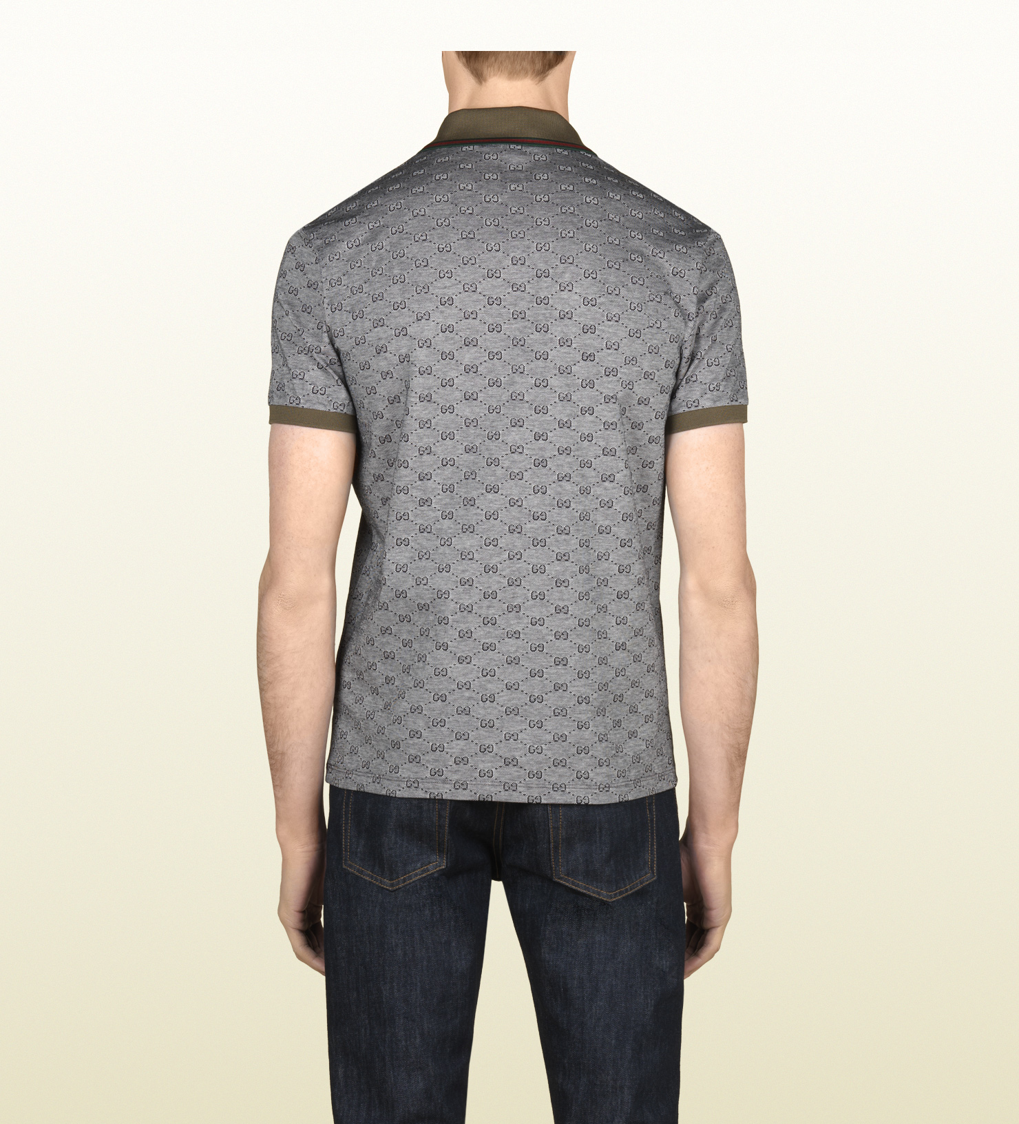 d11986ece00 Lyst - Gucci Piqué Short Sleeve Polo in Gray for Men