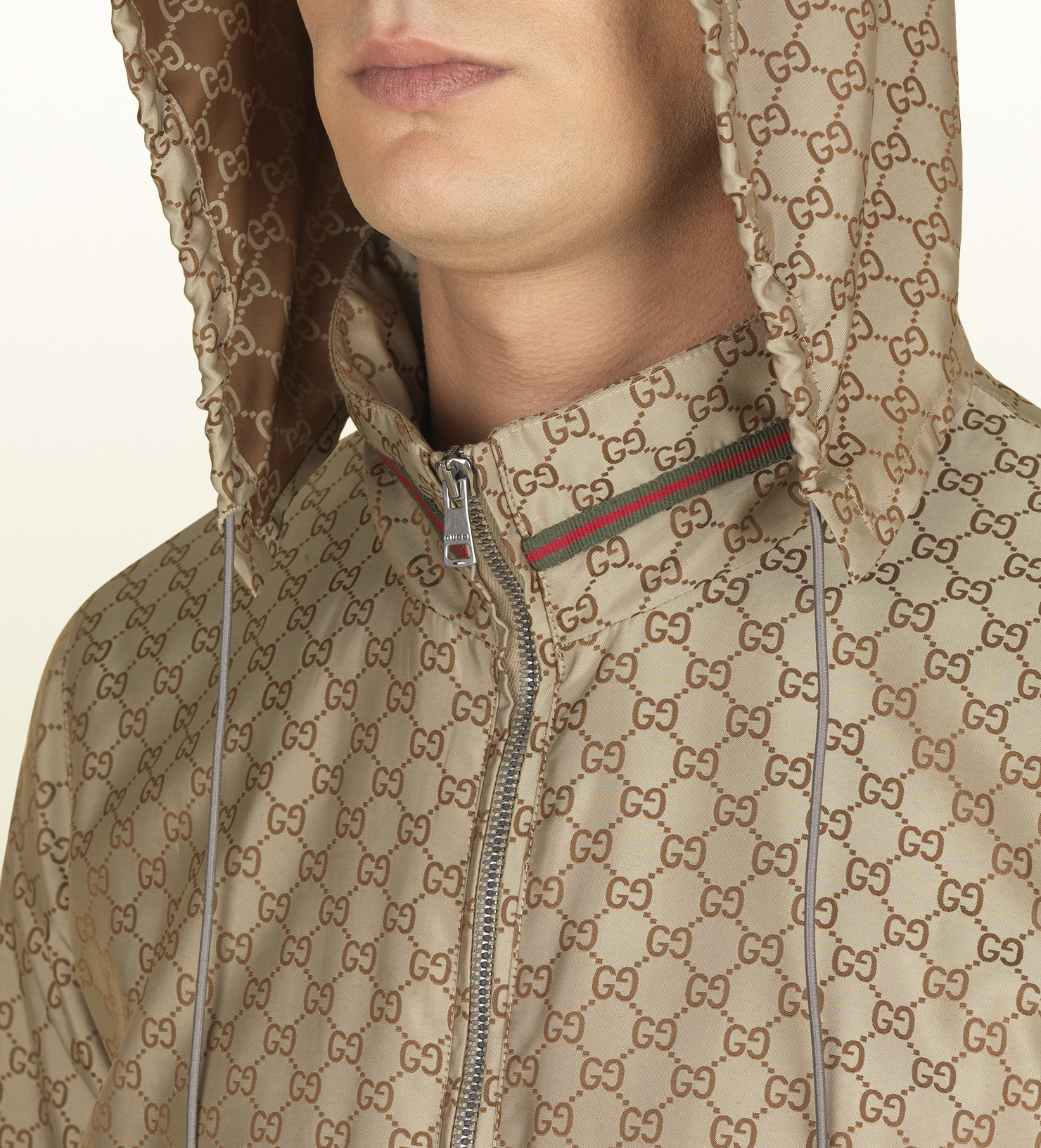 Gucci Gg Pattern Nylon Jacket in Brown for Men