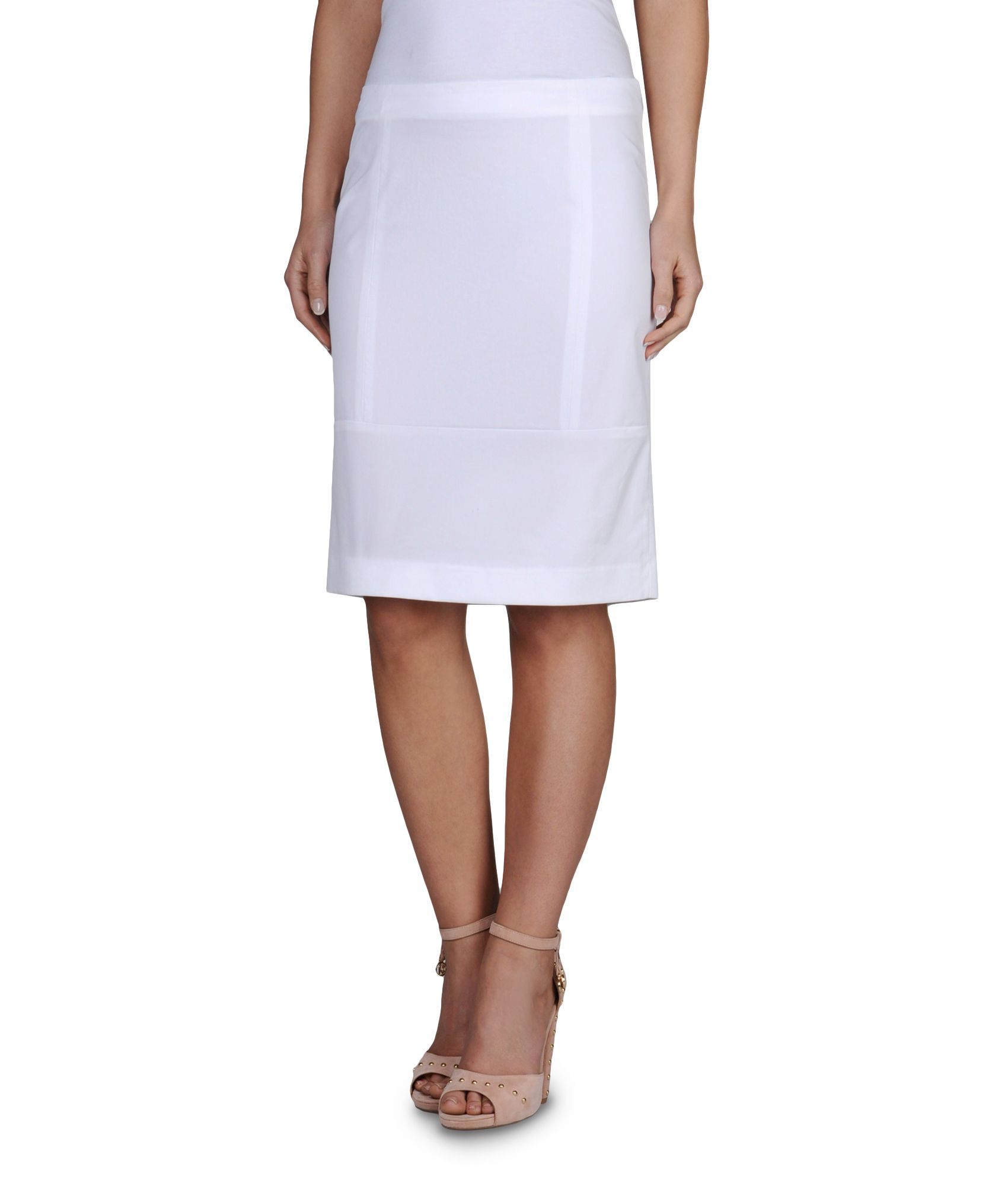 armani knee length skirt in stretch techno twill in