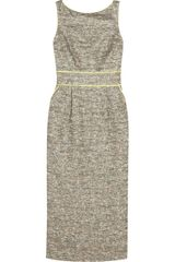 Badgley Mischka Satintrimmed Metallic Tweed Dress - Lyst